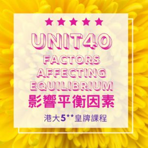 Unit 40. Factors Affecting Chemical Equilibrium Part A 化學平衡因素???? 1